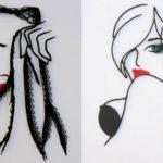 Esculturas de mulheres com fios de arame e varetas de metal