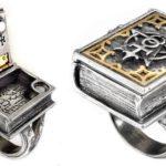 Anel do alquimista com livro mágico para esconder segredos