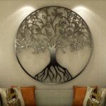 Árvore da Vida de metal para parede com folhas de corações