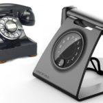Telefone antigo de disco inspira aparelho fixo retrô-futurista