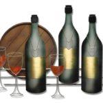 Painel 3D com tonel, garrafas e taças de vinho para bar e adega