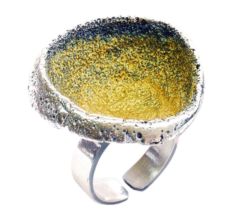 Anel esmaltado de prata