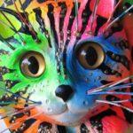 Gato em painel de madeira, resina e metal para colorir paredes