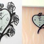 Relógio de parede em forma de coração com moldura de rosas