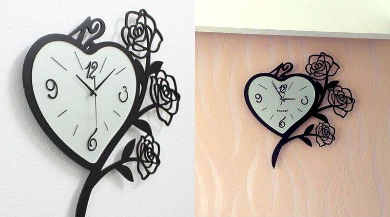 Relógio com rosas de metal