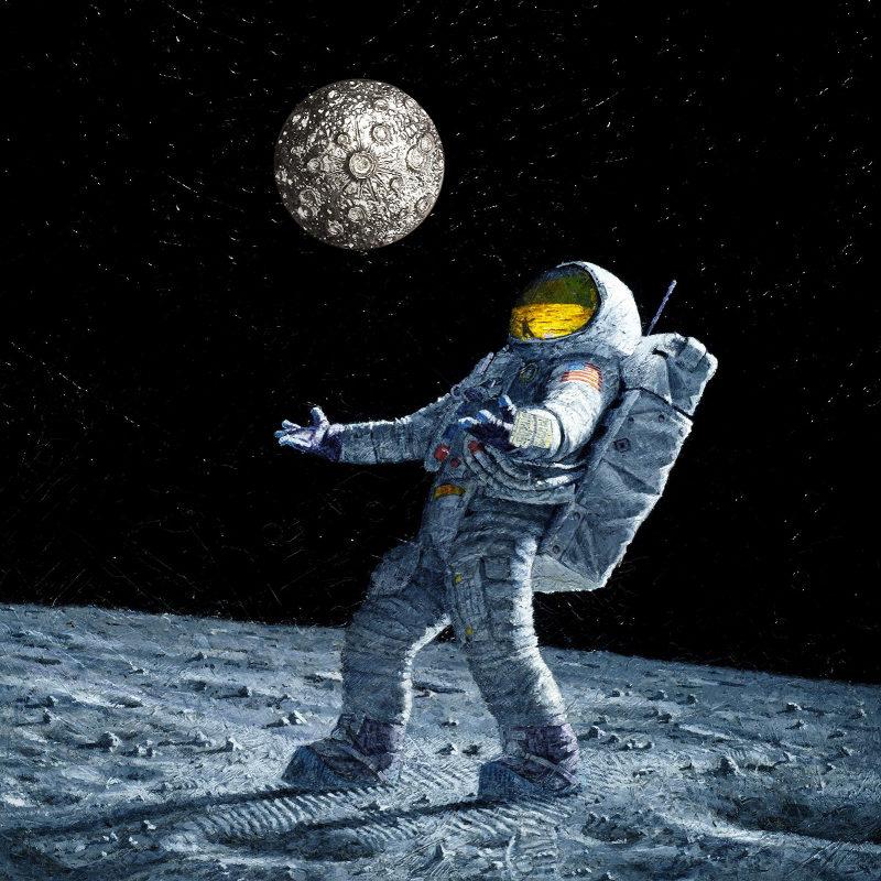 Anel com crateras em 3D da Lua