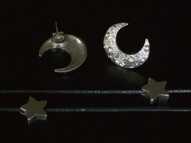 Brincos de pressão Lua e Estrela