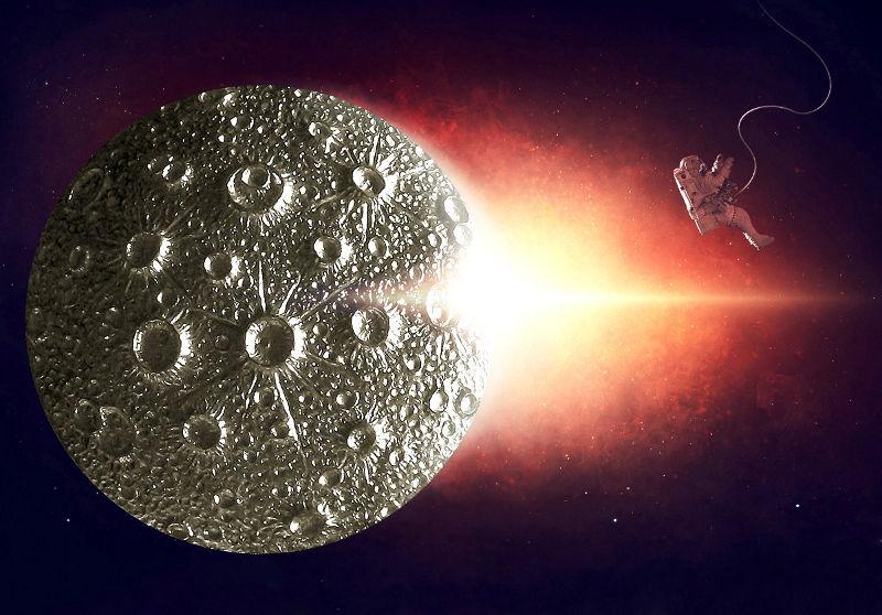 Pingente com concepção artística em 3D da Lua