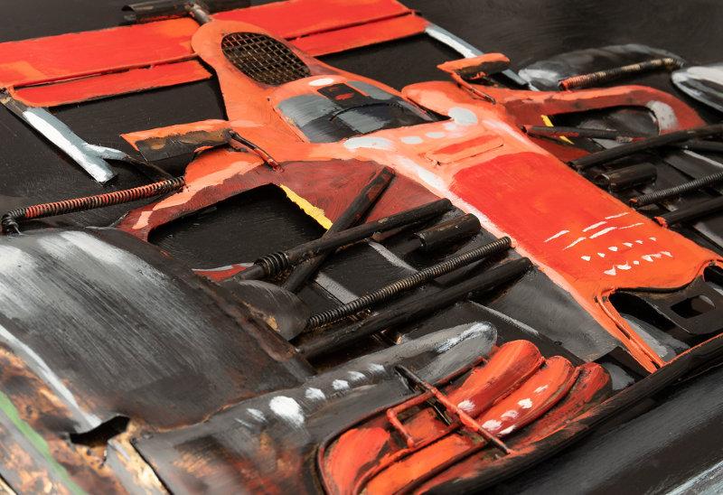 Painel de metal com Ferrari 3D