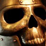 Elmo ou capacete de metal estilo espartano e viseira de caveira