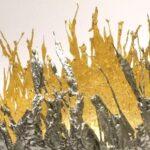 Vaso artístico redondo de pewter com o interior folheado a ouro