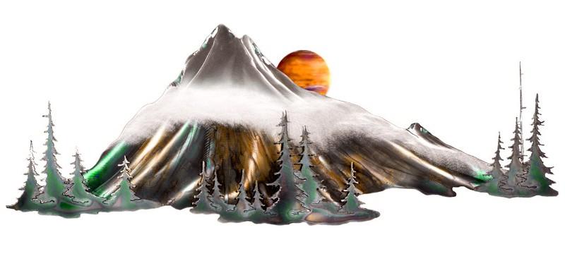 Quadro com montanhas ao amanhecer