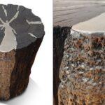 Mesa e banco de madeira reciclada com incrustação de pewter