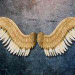 Painel com asas de anjo 3D de metal para decoração de paredes