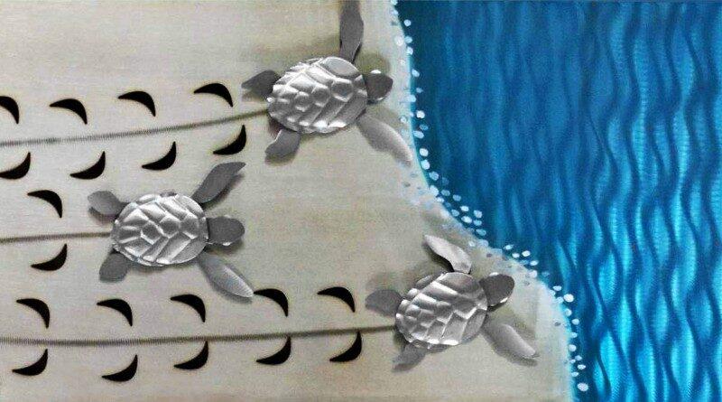 Filhotes de tartarugas marinhas na praia