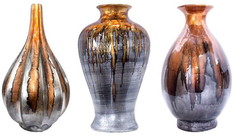 Mistura de argila com metal prateado