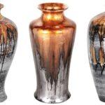 Vasos decorativos de cerâmica folheados a pewter artisticamente