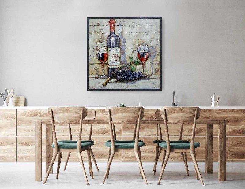Arte - garrafa e taças de vinho