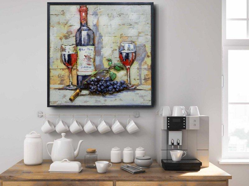 Garrafa e taças de vinho em 3D