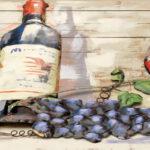 Garrafa e taças de vinho tinto em painel de madeira e metal 3D