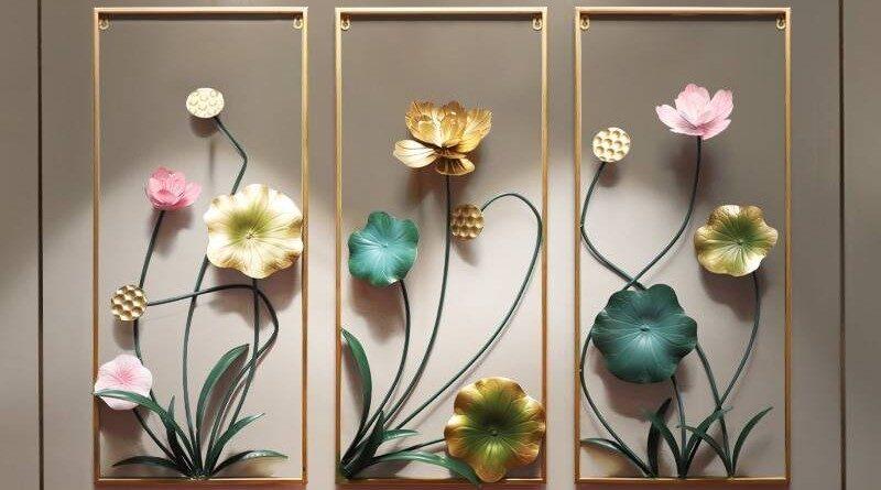 Painel floral de metal em 3D