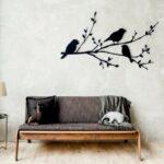 Passarinhos pousados em galho de árvore para decorar paredes
