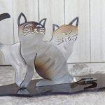 Casal de gatos em aço inox para decoração de mesa e prateleira