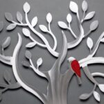Árvore da Vida com passarinho em painel de metal escovado