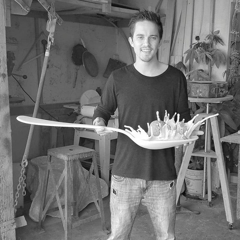 Molde de escultura de morango na colher