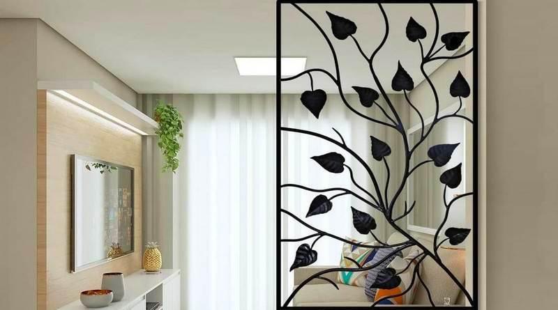 Divisória decorativa com plantas de ferro